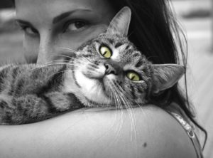 cat with a woman